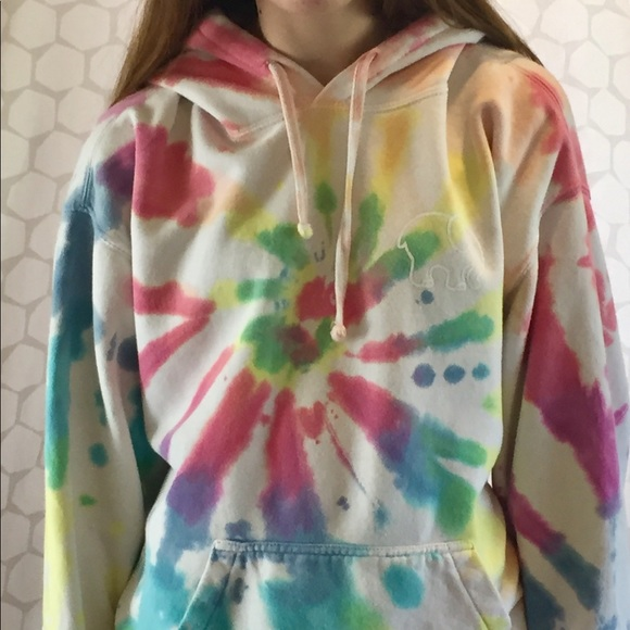 59978de31afd ivory ella Tops - Ivory Ella Oversized Rainbow Tie Dye Hoodie